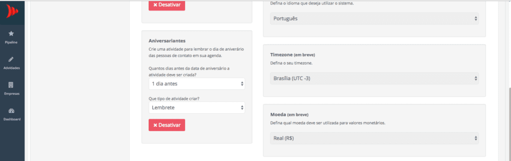 Multilinguas e Multimoedas CRM de Vendas