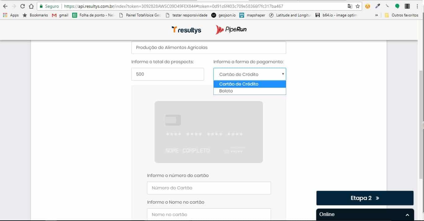 Resultys passo a passo PipeRun - tela de pagamento