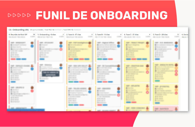 funil onboarding crm para mrr
